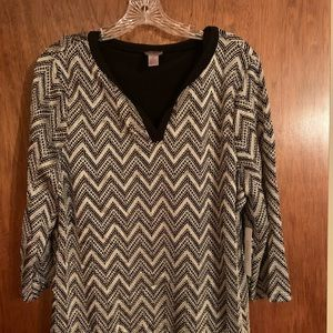 Chico dress top. Size 2 back and gold
